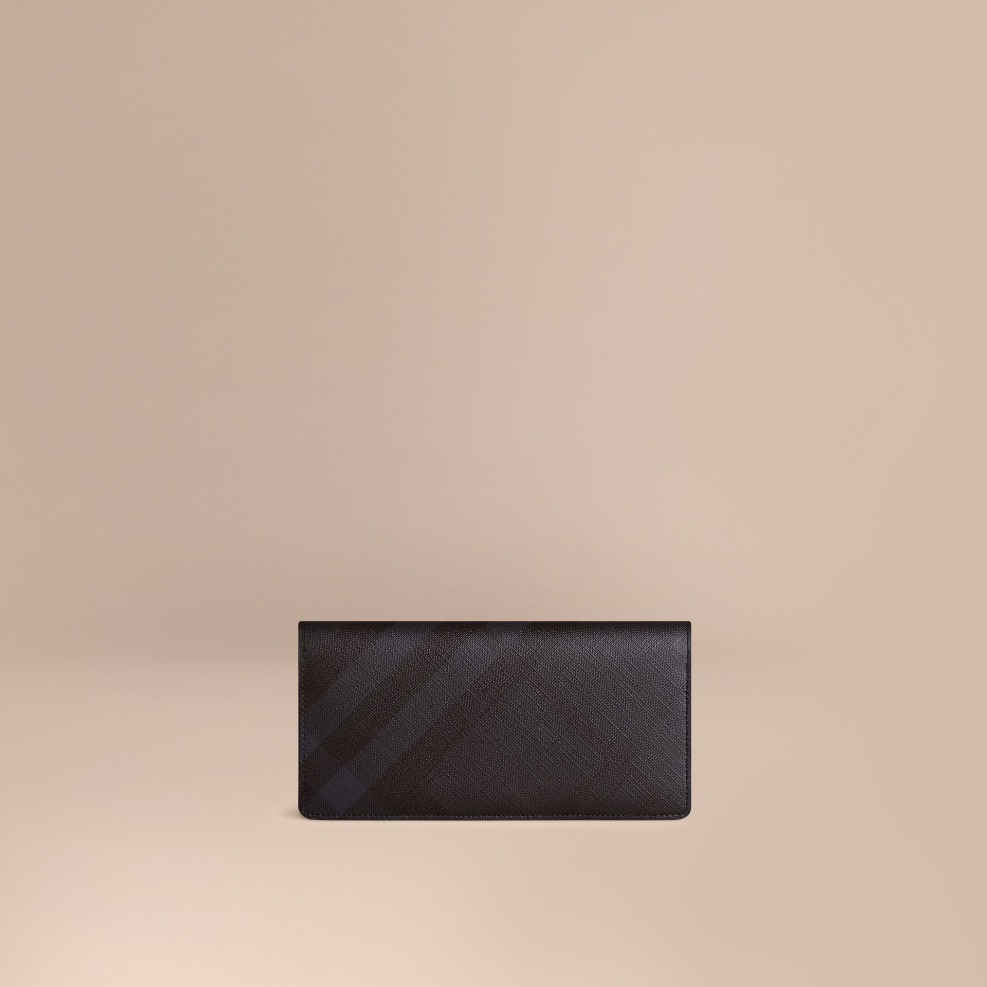 London Check and Leather Continental Wallet in Navy/black - Men | Burberry Australia - gallery image 1