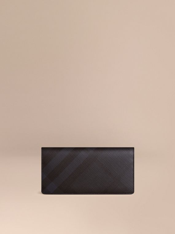 London Check and Leather Continental Wallet in Navy/black