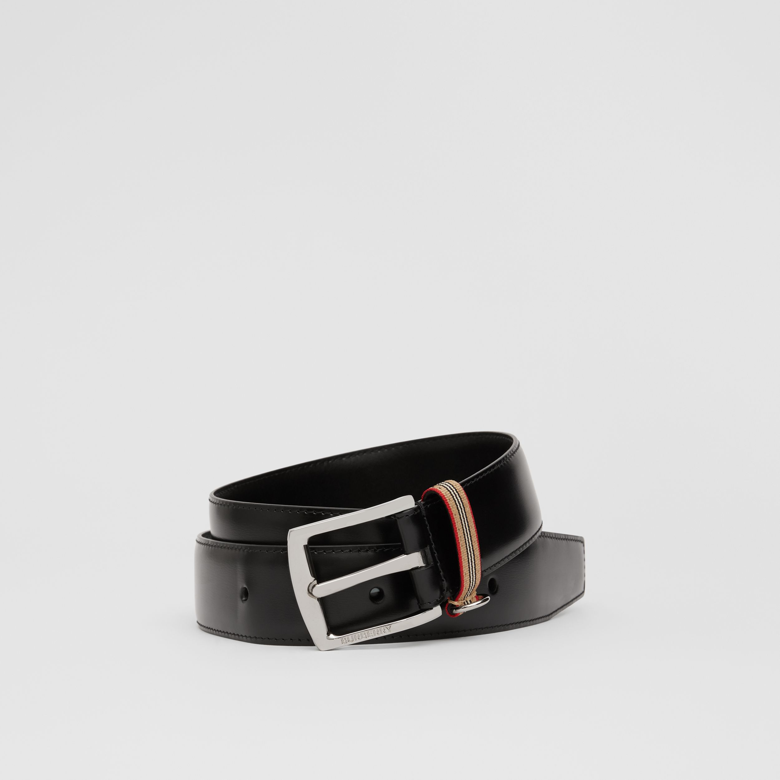 Icon Stripe Detail Leather Belt in Black - Men | Burberry - 1