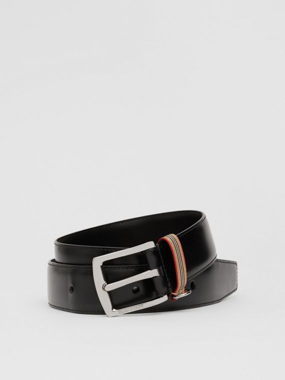 Icon Stripe Detail Leather Belt in Black