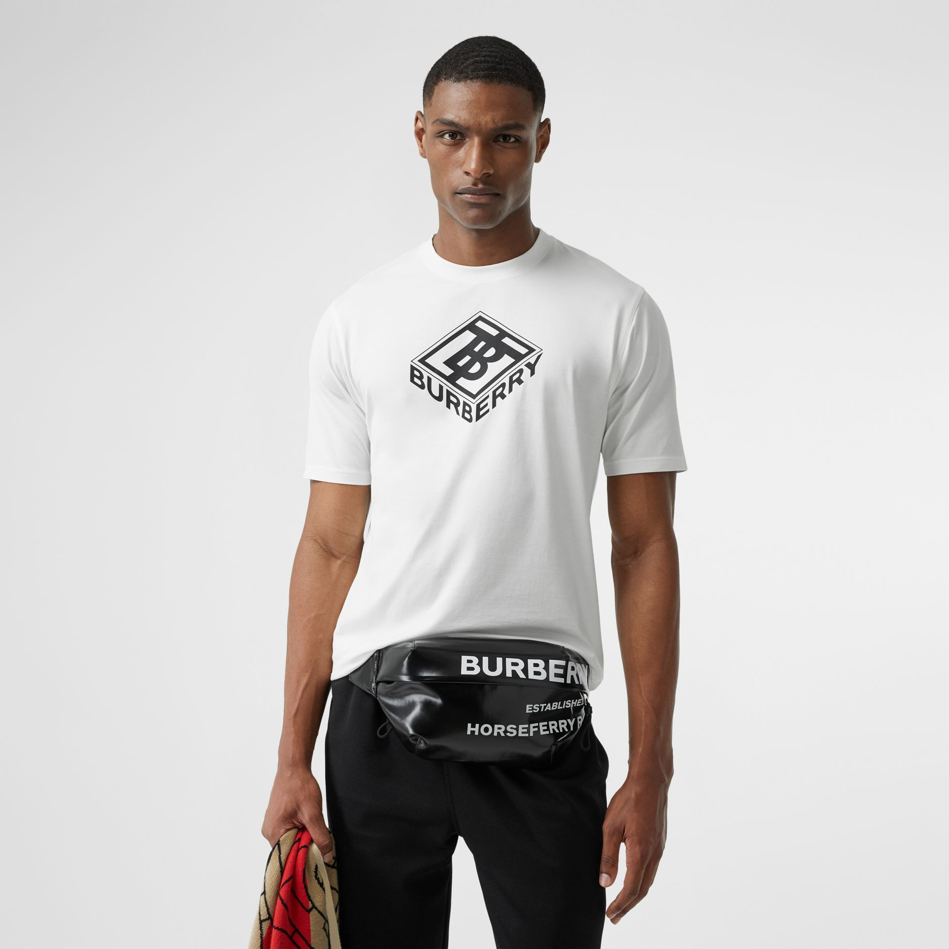 Logo Graphic Cotton T-shirt in White - Men | Burberry - gallery image 4