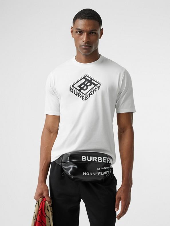 Camiseta de algodão com estampa gráfica (Branco)