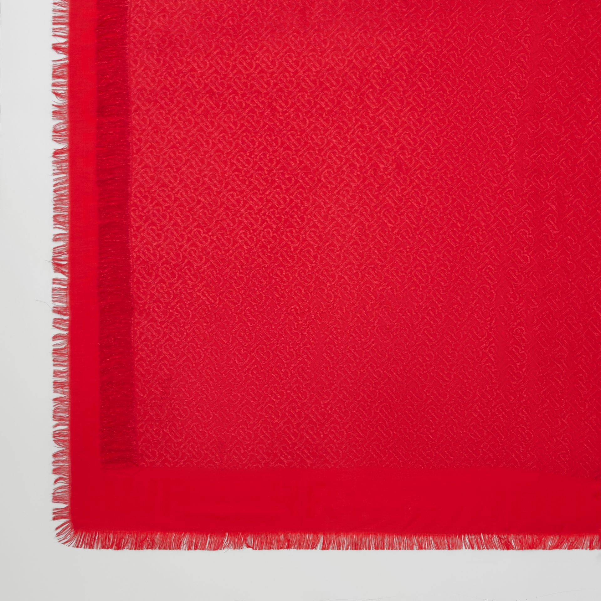 Metallic Monogram Silk Blend Large Square Scarf in Bright Red | Burberry United States - gallery image 1