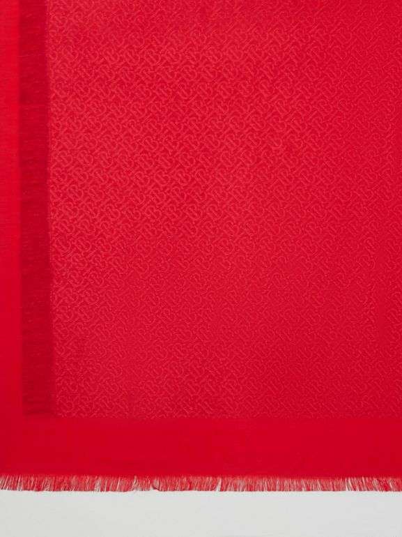 Metallic Monogram Silk Blend Large Square Scarf in Bright Red | Burberry - cell image 1