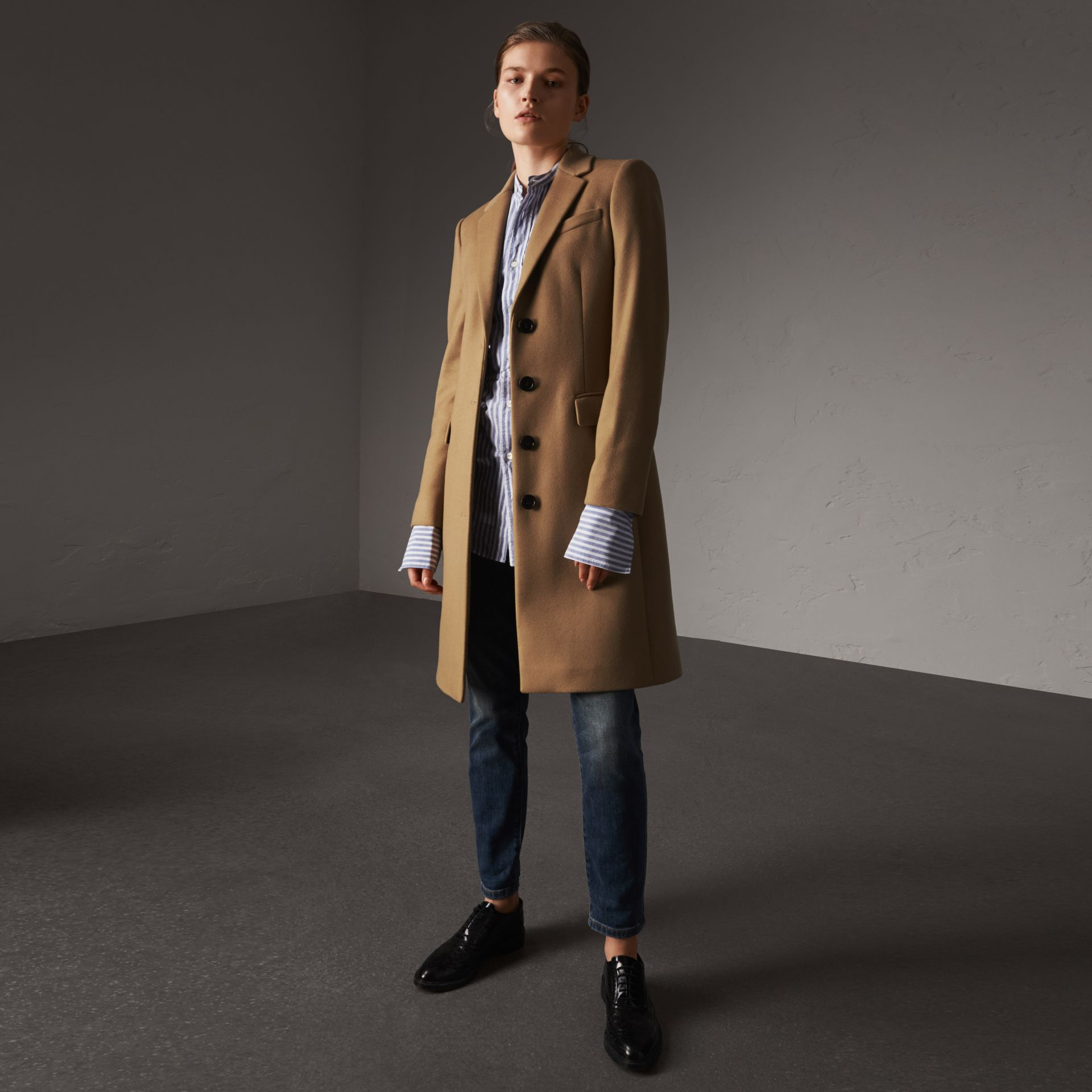 Wool Cashmere Tailored Coat in Camel - Women | Burberry United States - gallery image 0