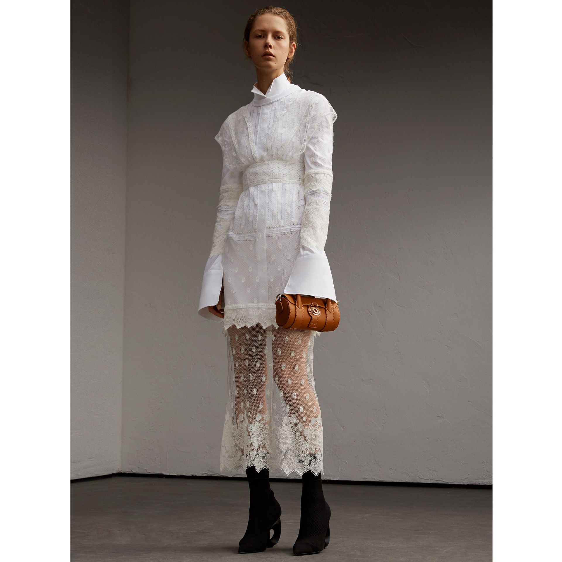 Embroidered Tulle and Cotton Shirt Dress in Off White - Women | Burberry - gallery image 1