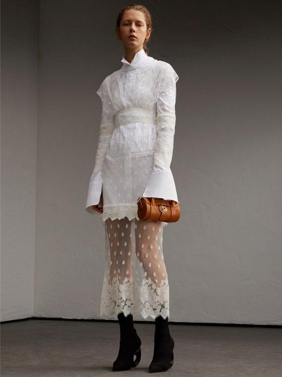 Embroidered Tulle and Cotton Shirt Dress