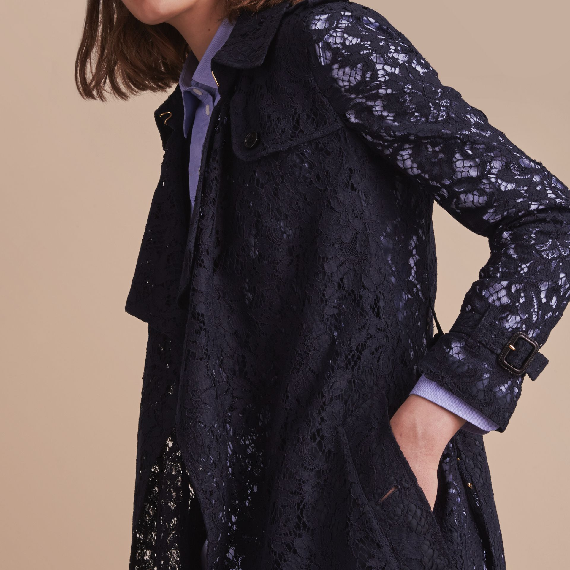 Macramé Lace Trench Coat in Navy - gallery image 6