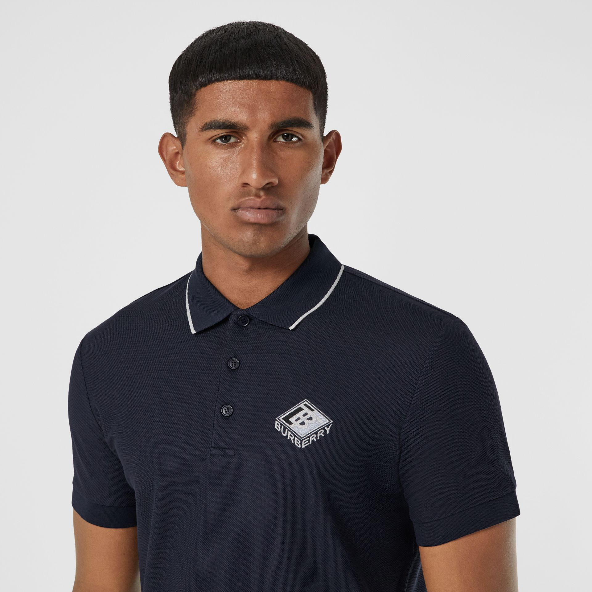 Logo Graphic Cotton Piqué Polo Shirt in Navy - Men | Burberry - gallery image 1