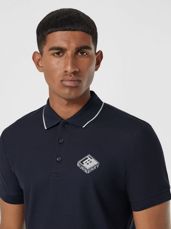 Logo Graphic Cotton Piqué Polo Shirt in Navy - Men | Burberry United States - cell image 1