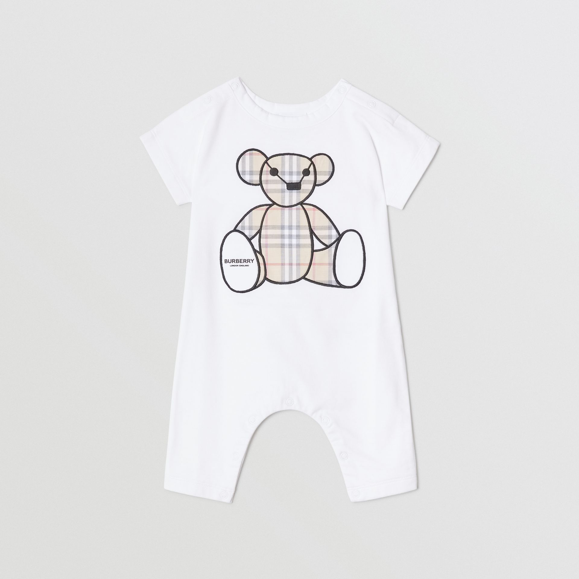 Thomas Bear Appliqué Cotton Jumpsuit in White - Children | Burberry United States - gallery image 0