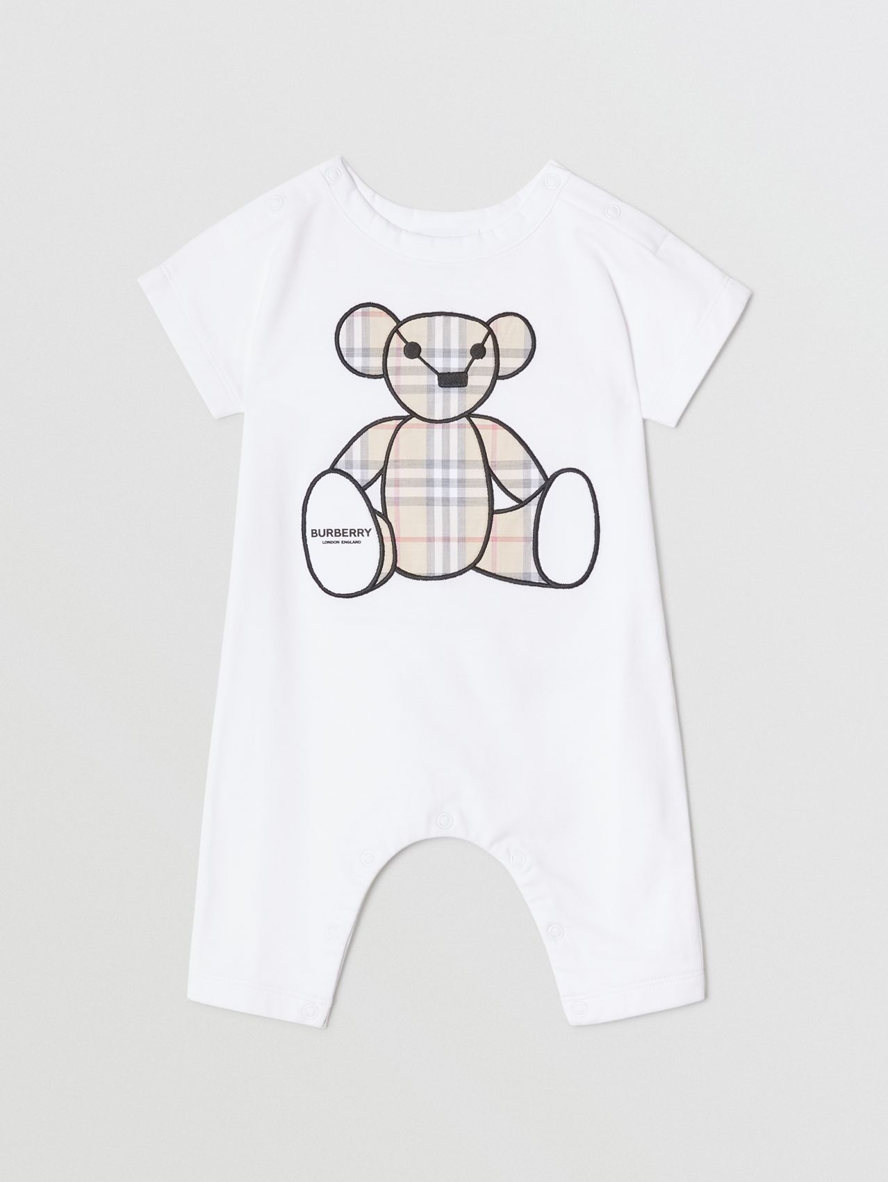 Thomas Bear Appliqué Cotton Jumpsuit in White