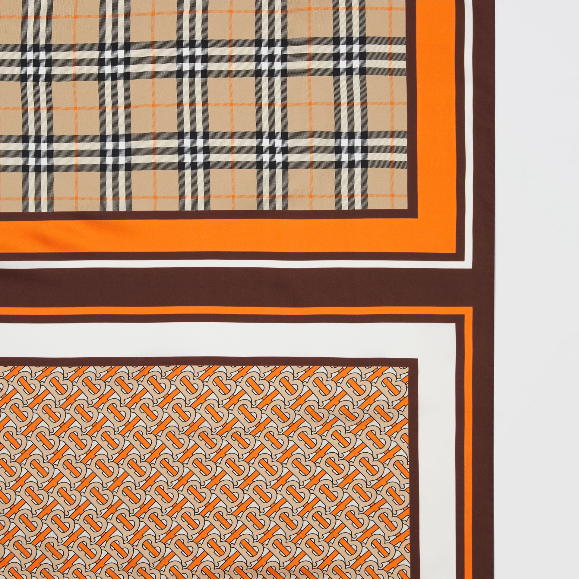 Monogram, Icon Stripe and Check Print Silk Scarf in Bright Orange | Burberry United Kingdom - gallery image 1