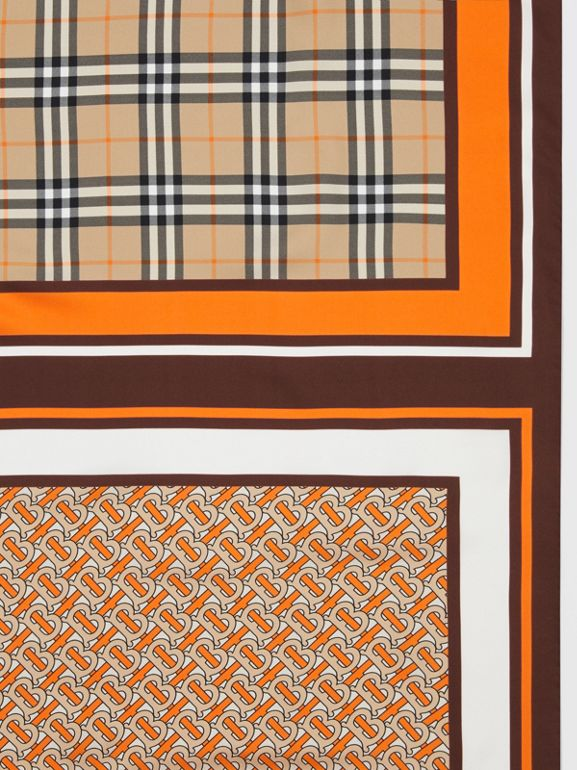 Monogram, Icon Stripe and Check Print Silk Scarf in Bright Orange | Burberry United Kingdom - cell image 1