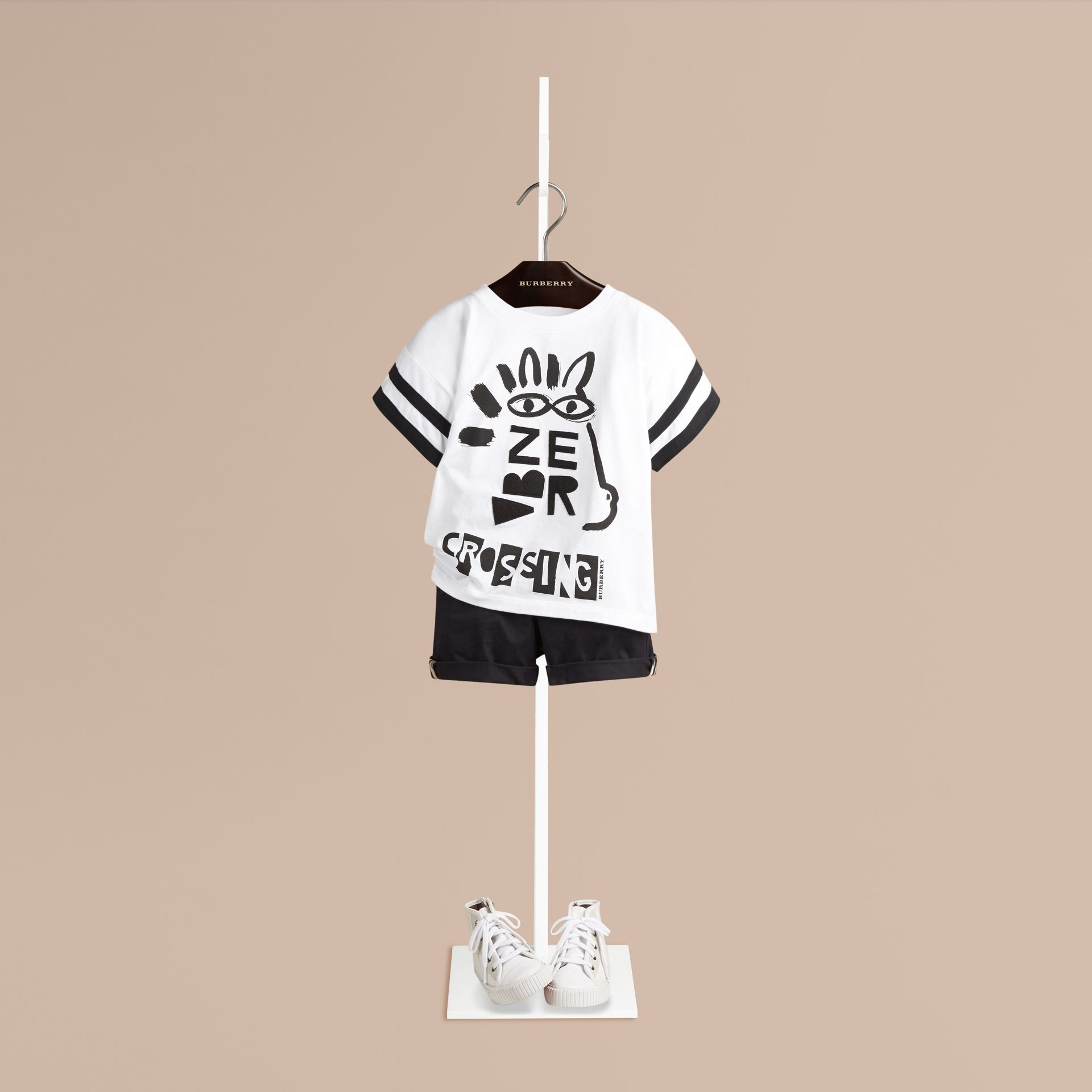 White Zebra Crossing Graphic Cotton T-shirt - gallery image 1