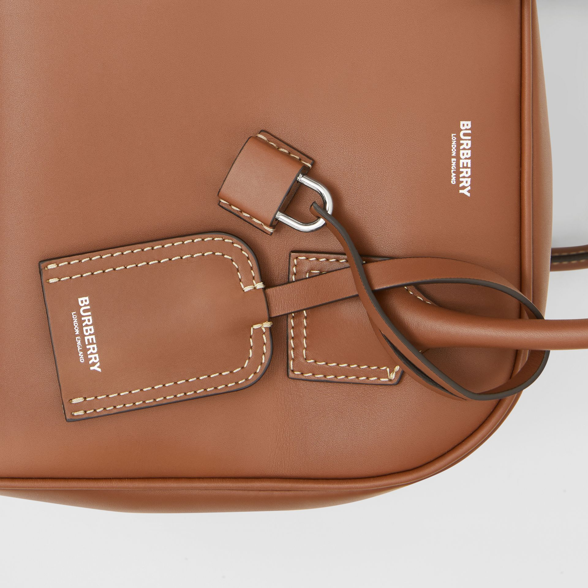 Small Leather Cube Bag in Malt Brown - Women | Burberry - gallery image 1