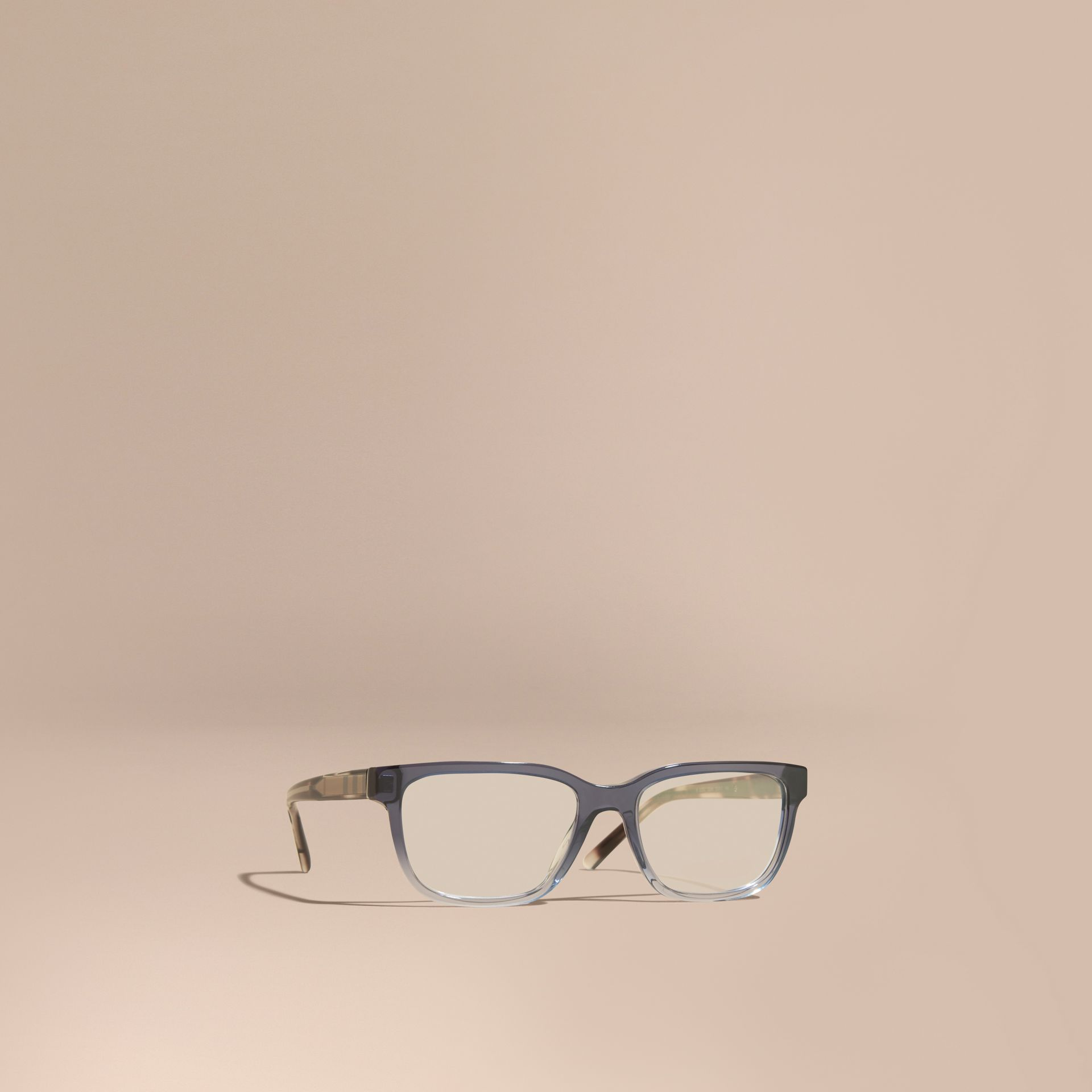Blue Check Detail Rectangular Optical Frames Blue - gallery image 1