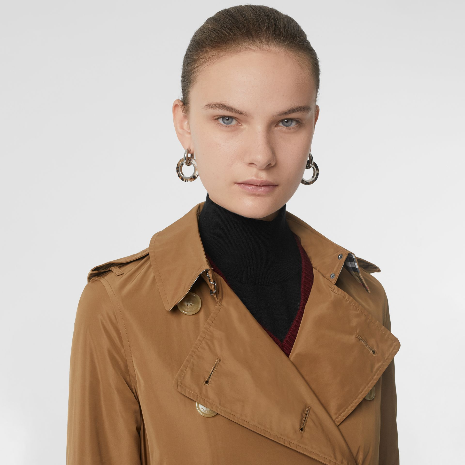 Detachable Hood Taffeta Trench Coat in Camel - Women | Burberry - gallery image 1