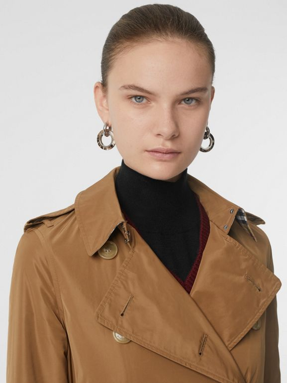 Detachable Hood Taffeta Trench Coat in Camel - Women | Burberry Singapore - cell image 1