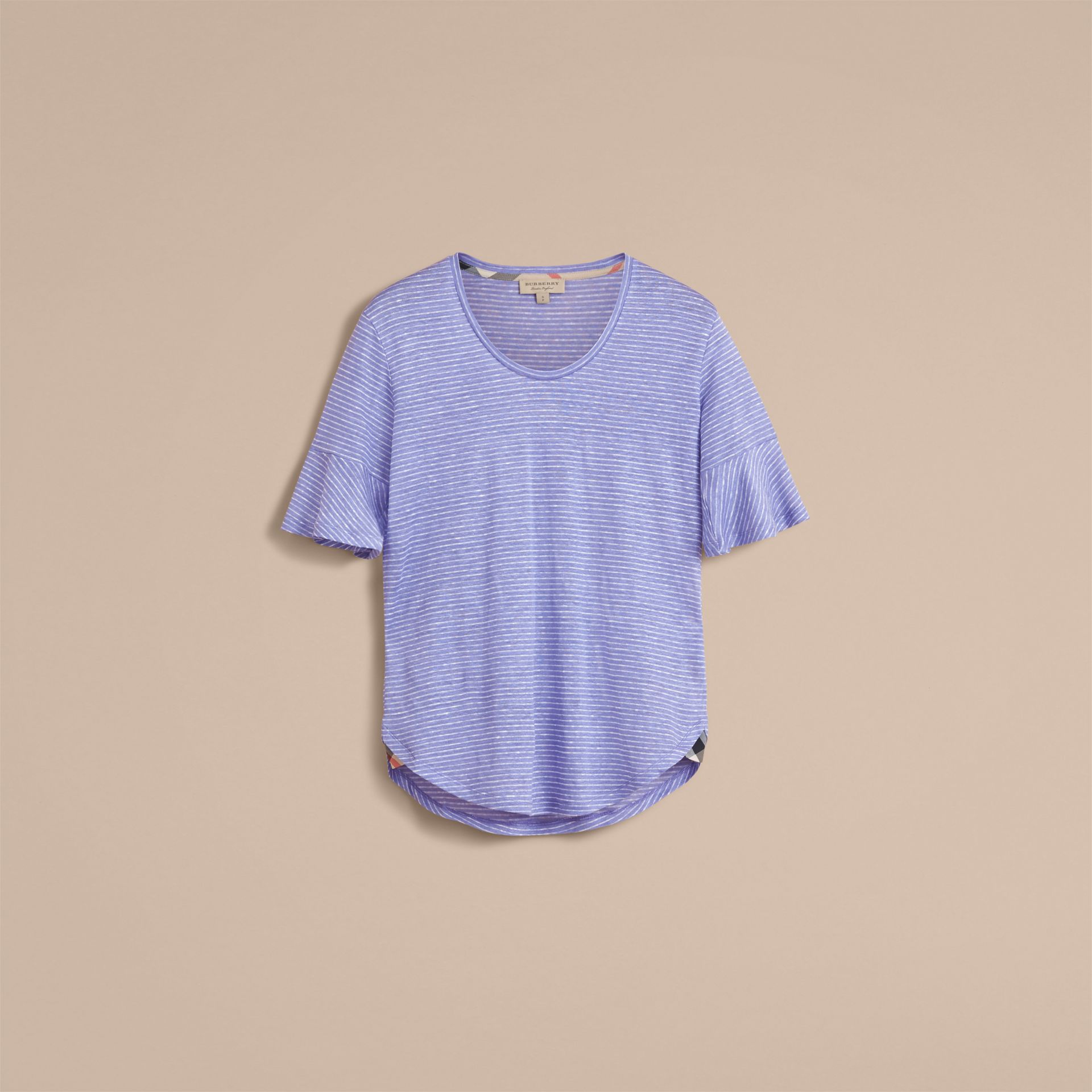 Bell-sleeve Check Detail Striped Linen T-shirt in Pale Blue/white - gallery image 4