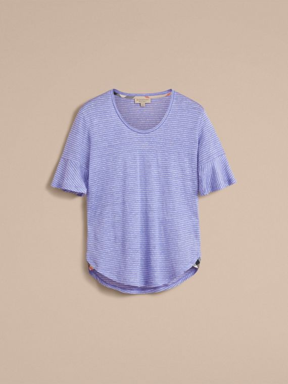 Bell-sleeve Check Detail Striped Linen T-shirt in Pale Blue/white - cell image 3