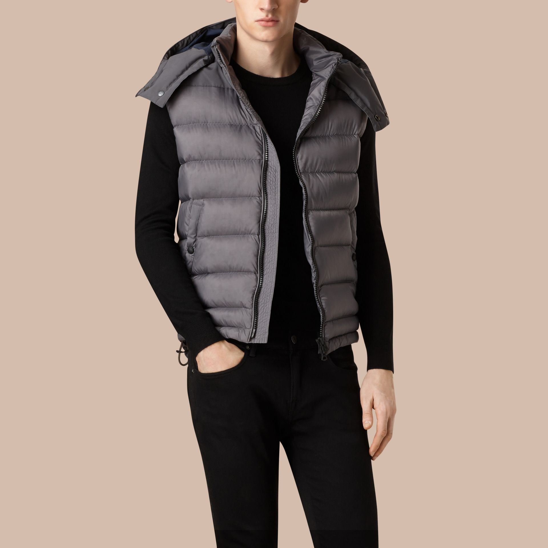 Storm grey Down-filled Gilet with Detachable Hood - gallery image 1