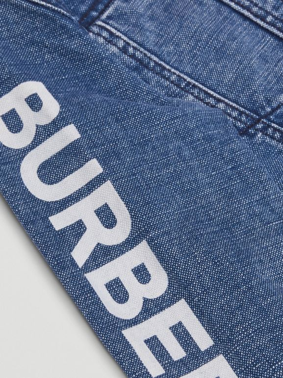 Logo Print Japanese Denim Jacket in Indigo | Burberry United Kingdom - cell image 1