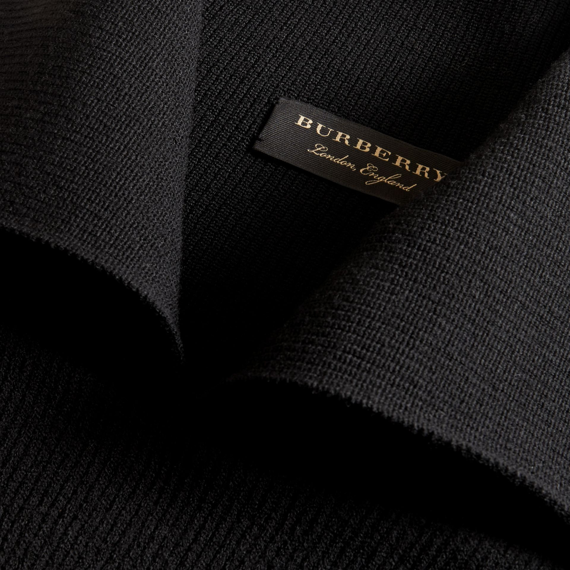 Rib Knit Compact Wool Blend Sculptural Sweater in Black - Men | Burberry - gallery image 2