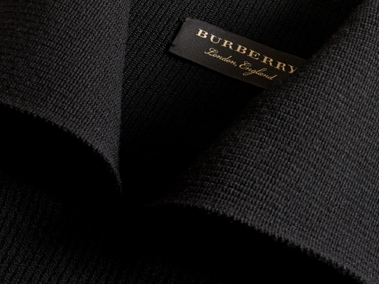 Rib Knit Compact Wool Blend Sculptural Sweater in Black - Men | Burberry - cell image 1