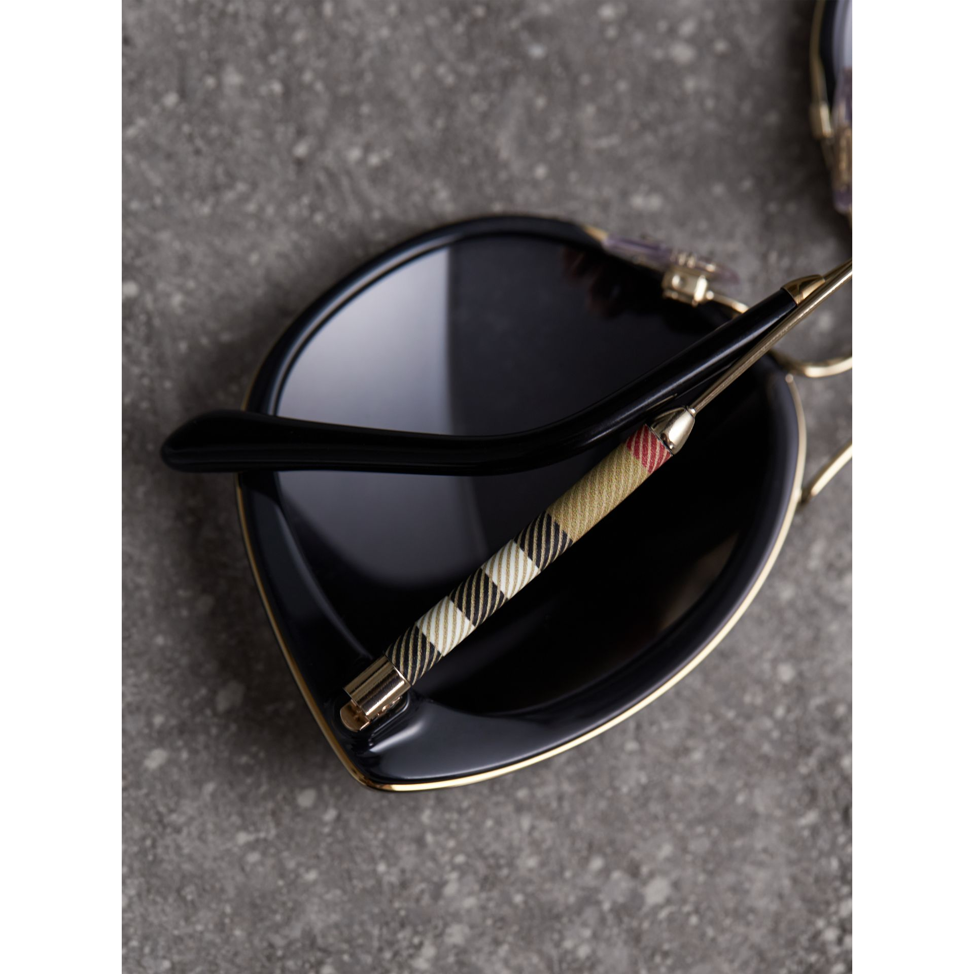 Check Detail Round Frame Sunglasses in Black - Women | Burberry Singapore - gallery image 1