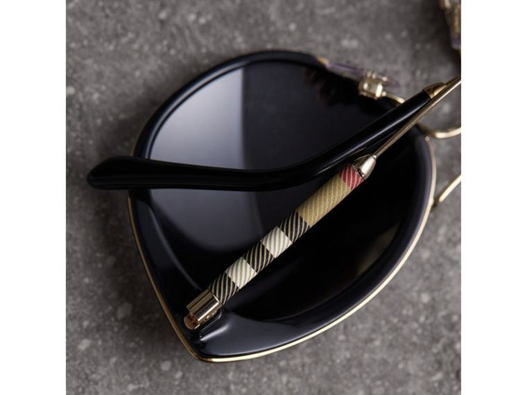Check Detail Round Frame Sunglasses - Women | Burberry - cell image 1
