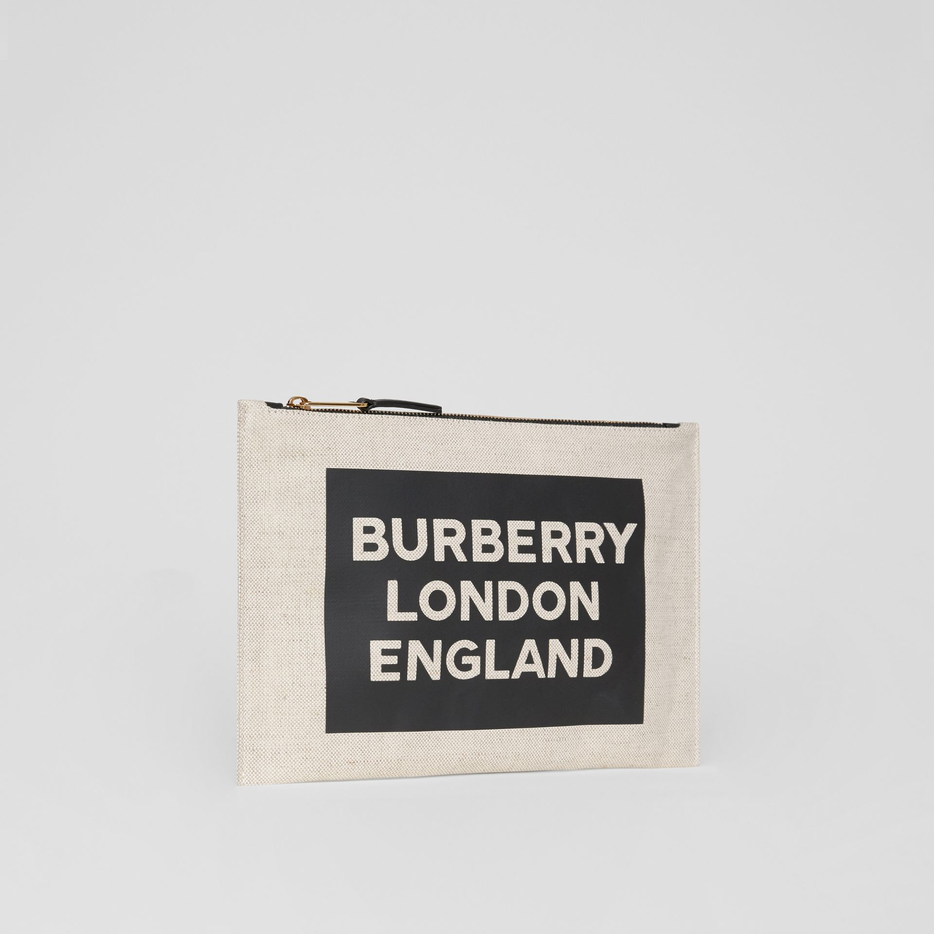 Logo Cotton Canvas Pouch in Natural | Burberry - gallery image 7