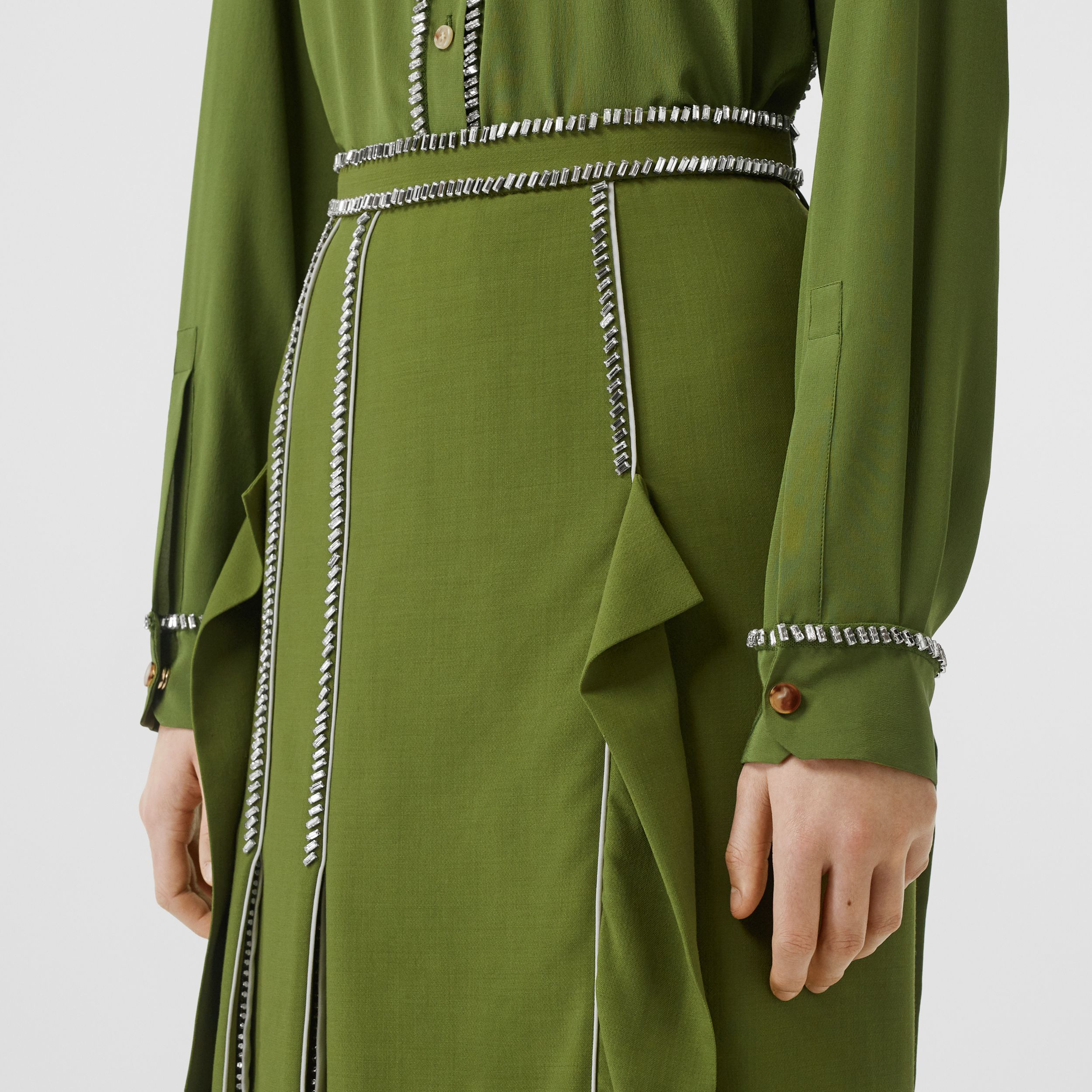 Crystal Detail Panelled Wool Crepe A-line Skirt in Cedar Green - Women | Burberry - 2