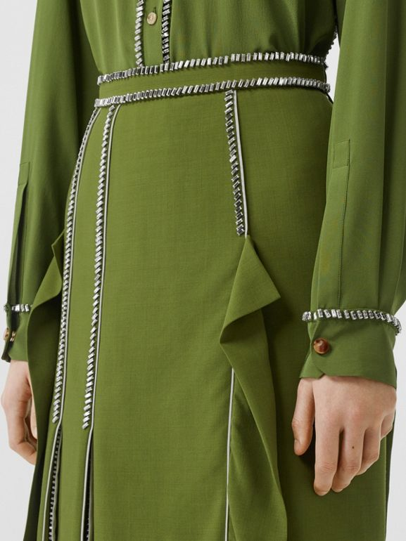 Crystal Detail Panelled Wool Crepe A-line Skirt in Cedar Green - Women | Burberry United States - cell image 1