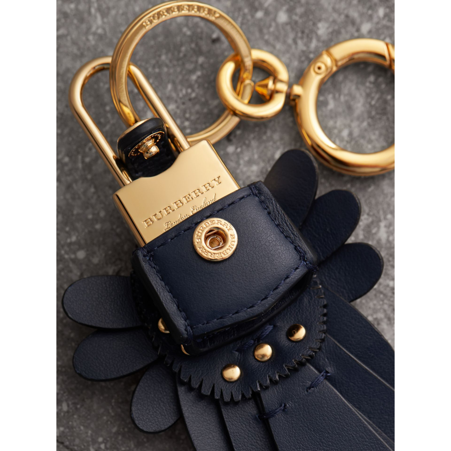 Beasts Leather Key Charm and Padlock in Dark Navy - Women | Burberry Singapore - gallery image 2