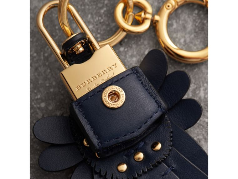 Beasts Leather Key Charm and Padlock in Dark Navy - Women | Burberry Singapore - cell image 1