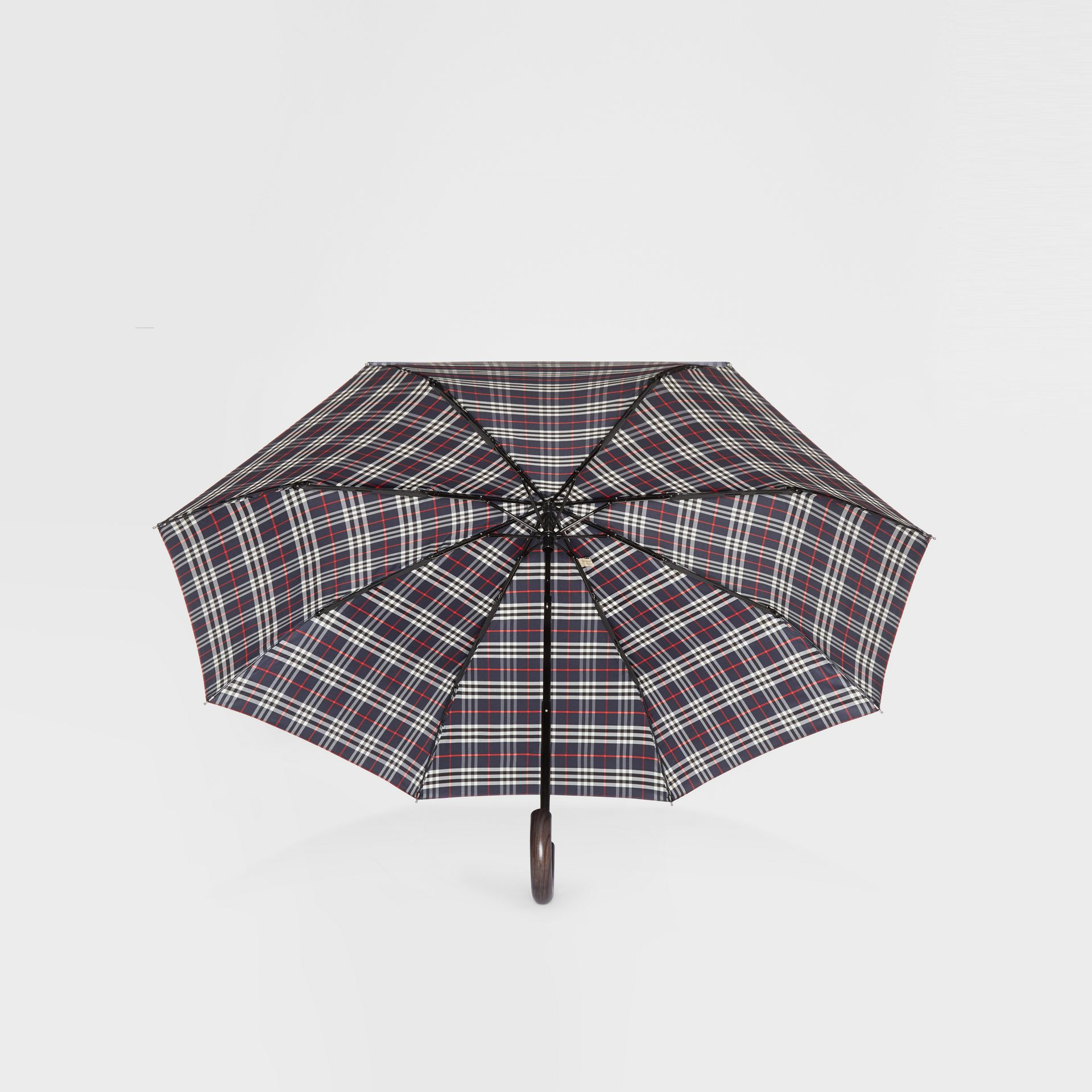 Check Folding Umbrella in Navy | Burberry - gallery image 4