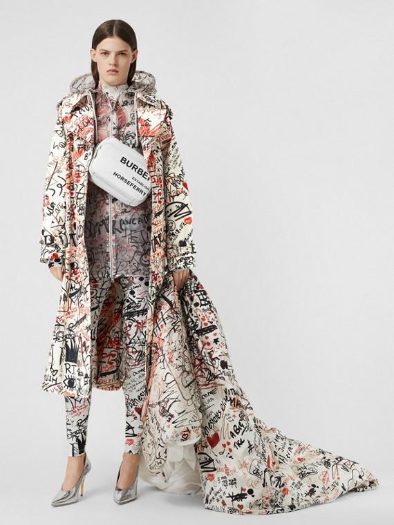 Trench coat in gabardine di cotone con stampa graffiti (Nero)