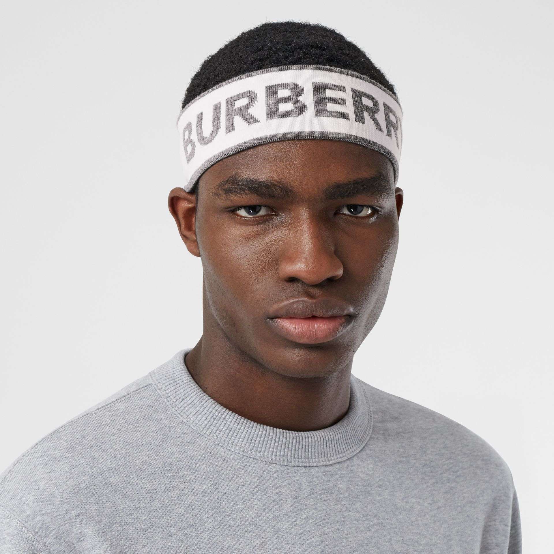 Logo Intarsia Wool Blend Headband in White/mid Grey | Burberry - gallery image 3