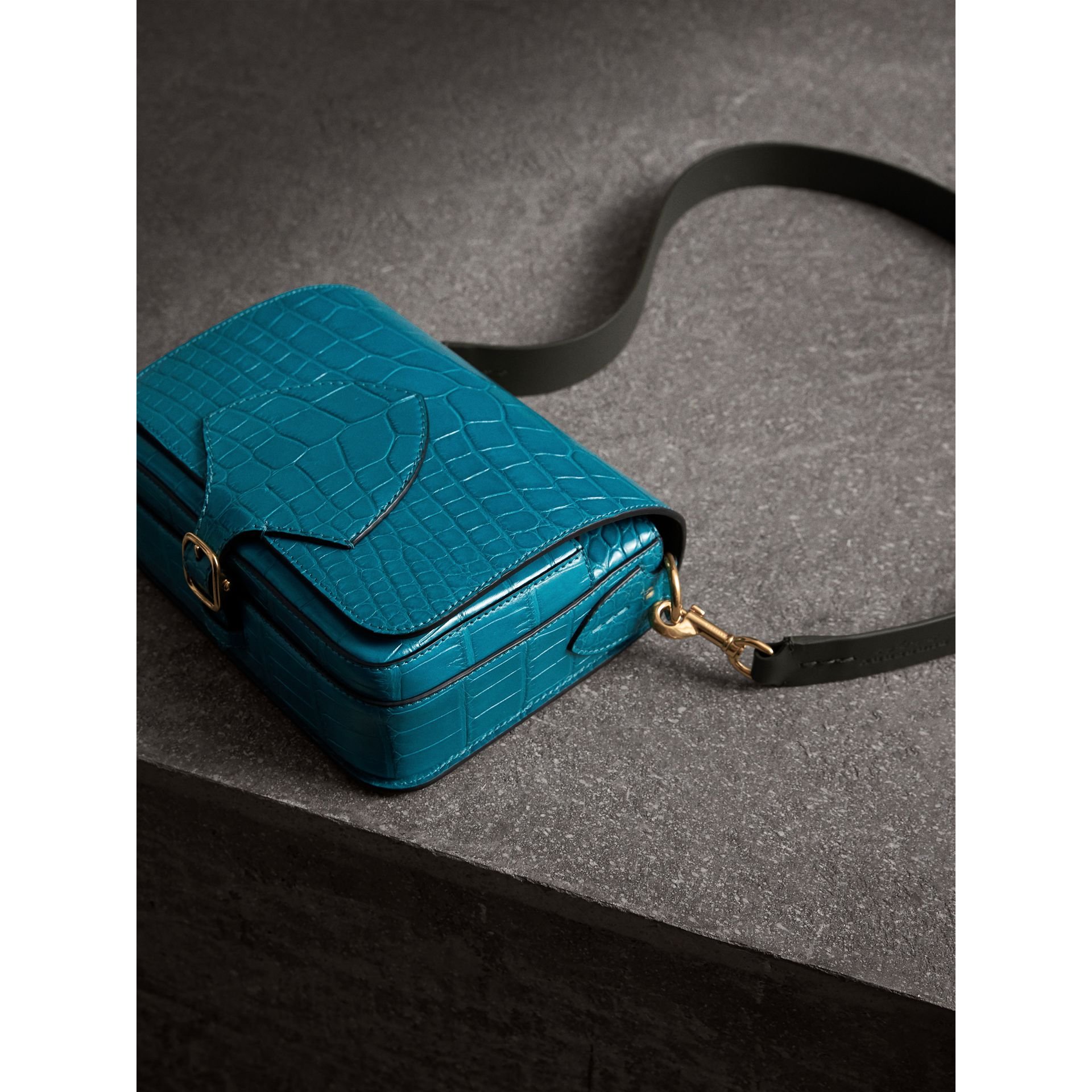 The Square Satchel in Alligator in Dark Teal - Women | Burberry - gallery image 7