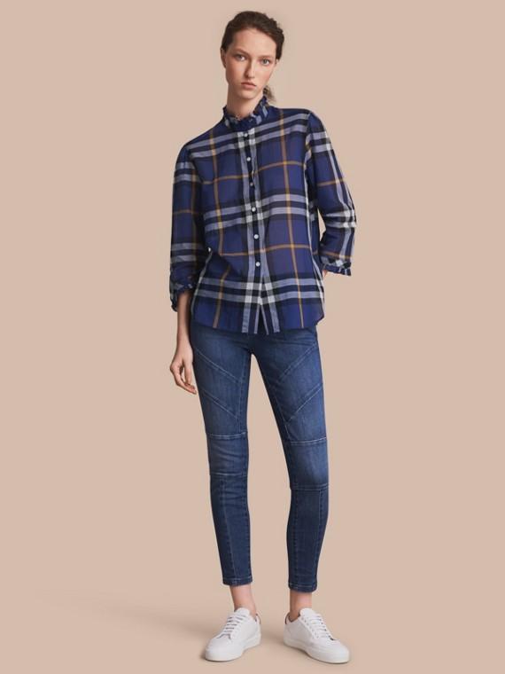 Ruffle Detail Check Cotton Shirt Lapis Blue