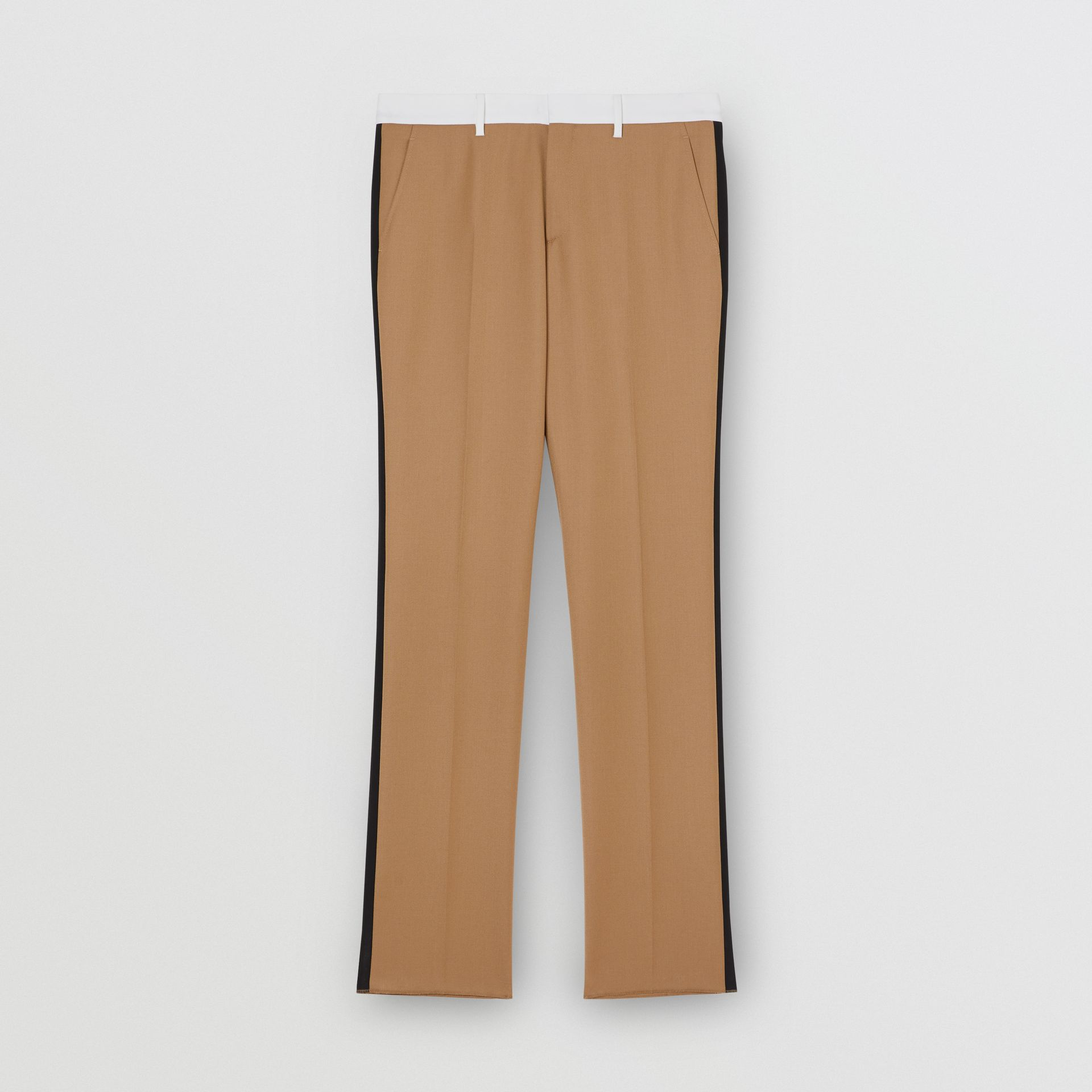 Classic Fit Side Stripe Wool Tailored Trousers in Camel - Men | Burberry Canada - gallery image 3