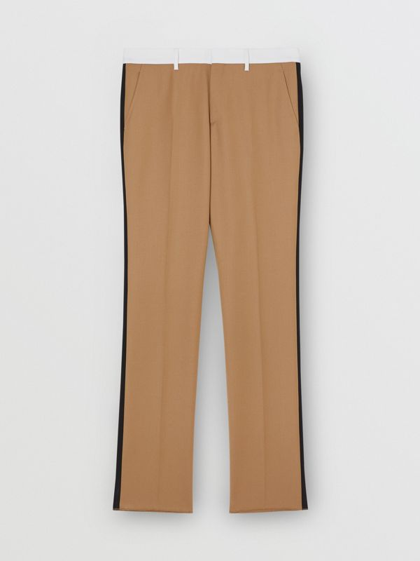 Classic Fit Side Stripe Wool Tailored Trousers in Camel - Men | Burberry Canada - cell image 3