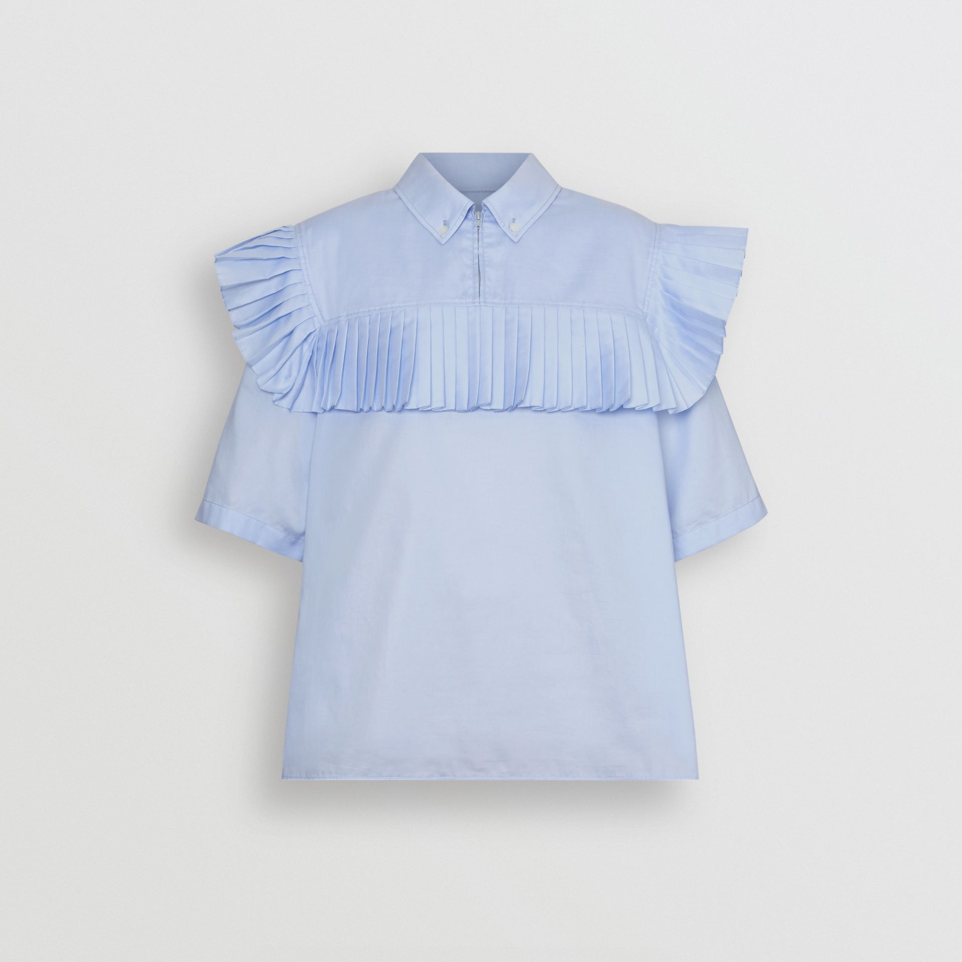 Short-sleeve Pleat Detail Cotton Shirt in Baby Blue - Women | Burberry Canada - gallery image 3
