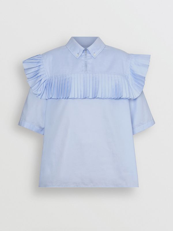 Short-sleeve Pleat Detail Cotton Shirt in Baby Blue - Women | Burberry - cell image 3