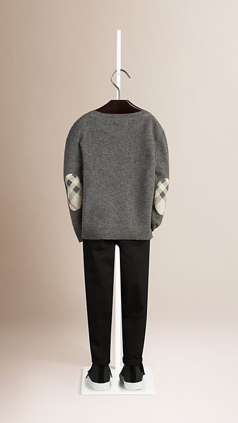 Mid grey melange Check Elbow Patch Cashmere Sweater - Image 2