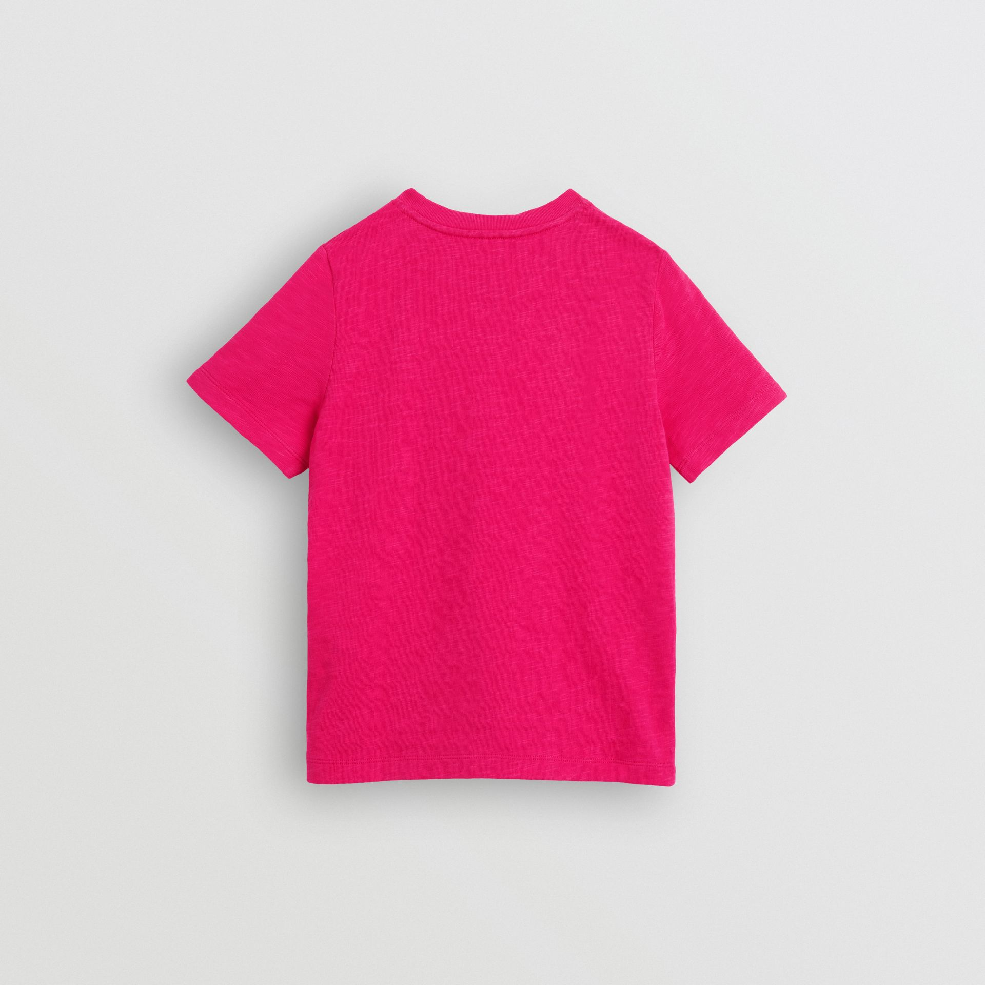 Logo Print Cotton T-shirt in Raspberry Pink - Children | Burberry - gallery image 3