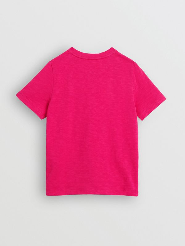 Logo Print Cotton T-shirt in Raspberry Pink - Children | Burberry - cell image 3