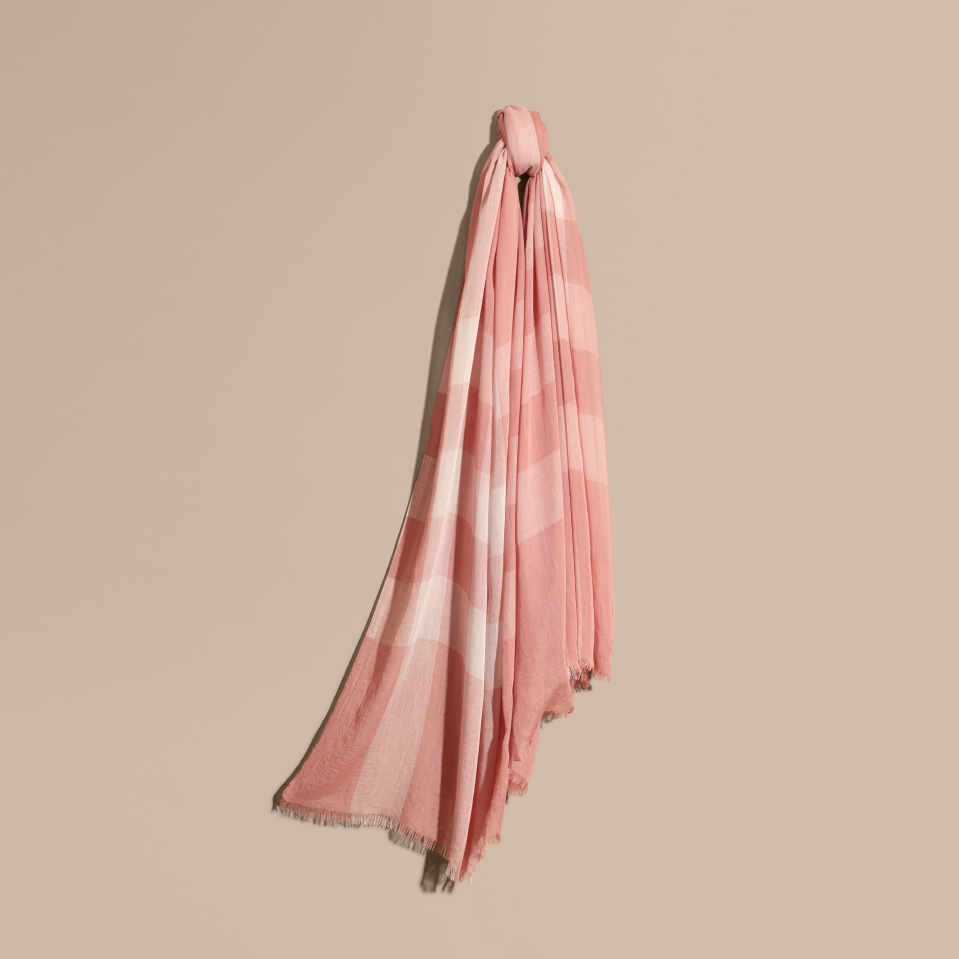 Check Modal Cashmere and Silk Scarf Antique Rose - gallery image 1