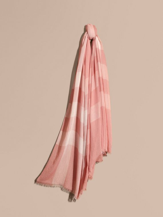 Check Modal Cashmere and Silk Scarf Antique Rose